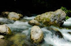 Flod vatten, stenar, skum, floding?ng, beh?llare fotografering för bildbyråer