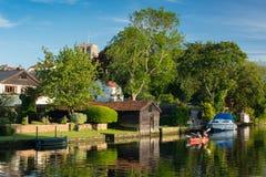 Flod Waveney, Beccles, UK, Juni 2019 arkivbilder
