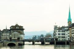 flod zurich Arkivbild