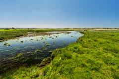Flodafon Ffraw och sanddyn Aberffraw, Anglesey Arkivfoto