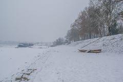 Flodbanken av en djupfryst Denube flod med is fångade fartyg Arkivfoto