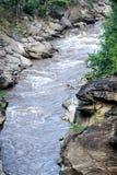 Floden är i en naturlig dal royaltyfri fotografi