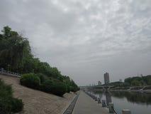 Floden är klar, finns det många gröna växter, och grusvägen i parkerar är mycket ren royaltyfri fotografi