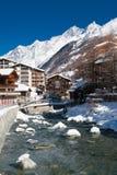 Flod i Zermatt, Schweitz Arkivbild