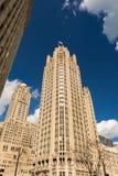 Floden går med stads- skyskrapor i Chicago, Förenta staterna Arkivfoto