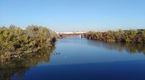 Floden Guadalquivir i CÃ-³rdoba arkivbilder