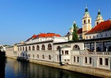 Floden i Ljubljana från drake överbryggar, Slovenien Arkivbild