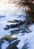 Floden i vinter royaltyfri fotografi