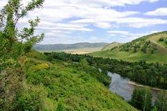 Floden Inya Charysh område Arkivfoto