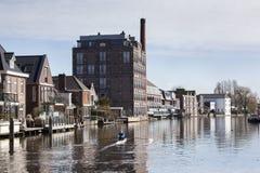 Floden nära Bodegraven i Nederländerna Royaltyfria Bilder
