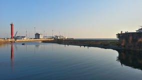 Floden och havsporten Sochi Arkivbild