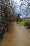 Floden Ouse brast dess banker. arkivfoto