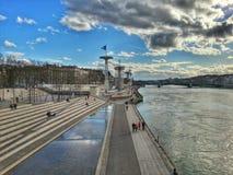 Floden parkerar av floden rhone, Lyon den gamla staden, Frankrike Royaltyfria Foton