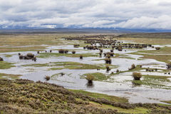 Floden slingrar i en bergdal Arkivbild