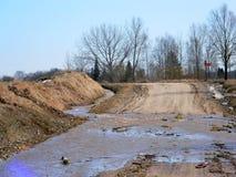 Floder översvämmade vägen Royaltyfria Foton