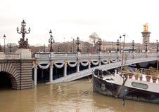 Floderna av Seinen, Paris Frankrike Fartygfluga i som, omöjlighet att navigera Arkivfoto