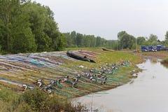Flodfördämning Obrenovac fotografering för bildbyråer
