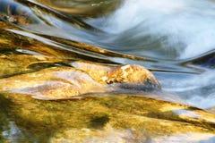 Flodflöde över härligt vaggar Arkivfoto