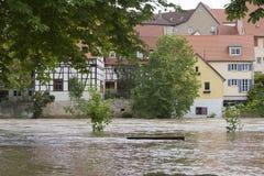 Flodfloden når Besigheim, Tyskland Arkivbilder