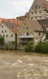 Flodfloden når Besigheim, Tyskland Royaltyfria Foton