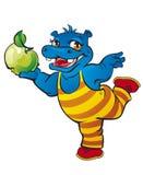 Flodhäst med äpplet Arkivfoto