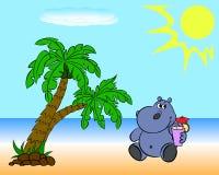 Flodhäst på stranden Arkivbild