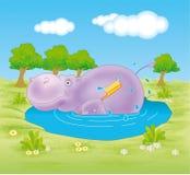 Flodhäst som tar ett bad Fotografering för Bildbyråer