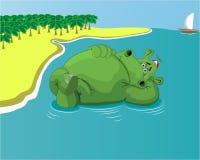 Flodhäst som vilar i vattnet på stranden stock illustrationer