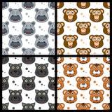Flodhästapapanter Tiger Seamless stock illustrationer