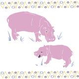 Flodhästmamman och flodhästen behandla som ett barn äta gräsmodellen stock illustrationer
