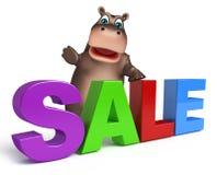 Flodhästtecknad filmtecken med försäljningstecknet stock illustrationer