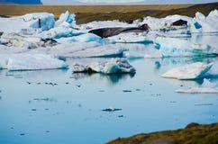 Is- flodislagun på Jokulsarlon Island royaltyfri foto