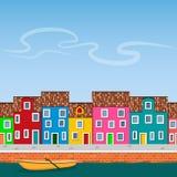 Flodkanal med den fartyg-, pir- och kajgatan Stock Illustrationer