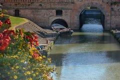 Flodkanal på piazzadelllaen valle, Padua, Italien Arkivfoton