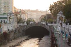 Flodkanal Wien Arkivfoton