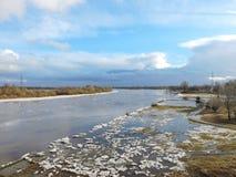 Flodkust i vinter Arkivbild