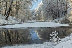 Flodlandskap i vinter Arkivfoton