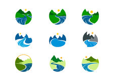 Flodlogo, design för naturbergsymbol vektor illustrationer