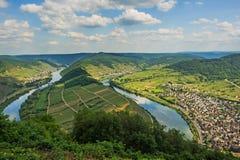 FlodMoselle ögla på byn Bremm, Tyskland Arkivbild