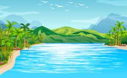 Flodplats med träd och berg stock illustrationer
