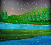 Flodplats på regnig dag stock illustrationer
