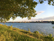FlodRhen och Mainz Arkivbild