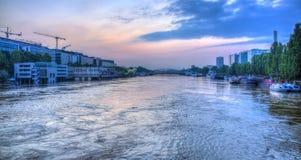 FlodSeine översvämning i Paris Royaltyfri Foto