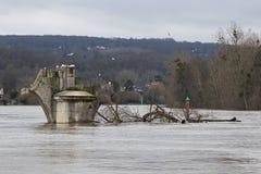 flodSeine översvämning 2018 i Poissy, Frankrike arkivbilder