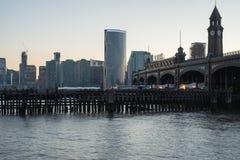 Flodsikt av av den Hoboken färjaterminalen royaltyfri fotografi