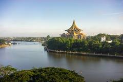 Flodsikt av Kuching Royaltyfri Bild