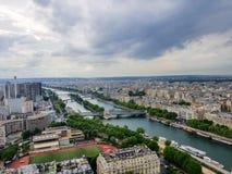 Flodsikt från Eiffeltorn fotografering för bildbyråer