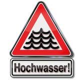 Flodvarning undertecknar royaltyfri illustrationer