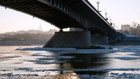 Floe flowing river Vistula stock video