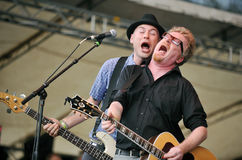 Flogging Molly. Nathen Maxwell (left) and Dave King (right) of Flogging Molly during performance on festival Rock for People, July 5, 2012 Royalty Free Stock Images